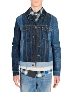 LANVIN Colorblock Woven Denim Jacket. #lanvin #cloth #jacket