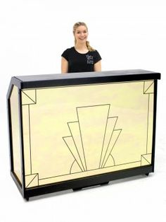 Event Prop Hire: Illuminating Art Deco Gold Mirrored Bar Section