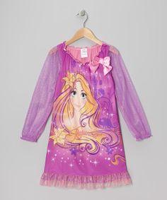 Dark Pink Rapunzel Nightgown - Girls