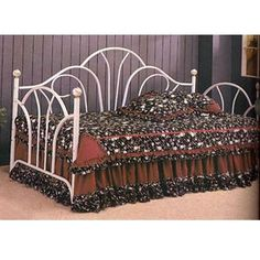 #High #Riser #Bed White Fan Back Daybed With Porcelain Knobs 2632 (CO)
