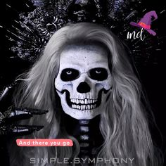 If you want to go with a skull makeup look this Halloween, don t look any further By: simple. Cool Makeup Looks, Creative Makeup Looks, Skull Makeup, Makeup Art, Fire Makeup, Halloween Tutorial, Halloween Makeup Looks, Maquillage Halloween, Cosplay Makeup
