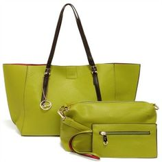 The On the Bright Side Lime Green Tote has bright red interior plus a cute coin purse and additional bonus bag with strap! Cute Coin Purse, Black Twins, On The Bright Side, Red Interiors, Ladies Day, Gold Hardware, Mini Bag, Vegan Leather, My Style