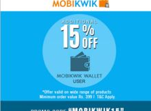 Mobikwik Rs. 15 Cashback on Minimum Rs. 200 Deposit