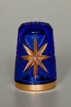 Blue Glass/Gold Star Thimble