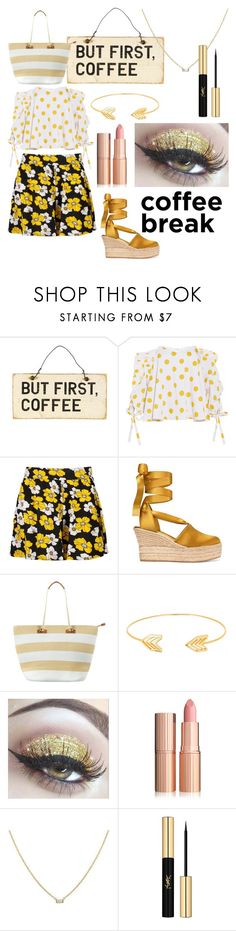 """coffee yellow"" by ilarylmiao ❤ liked on Polyvore featuring Caroline Constas, Boohoo, Tory Burch, Phase Eight, Lord & Taylor and Yves Saint Laurent"