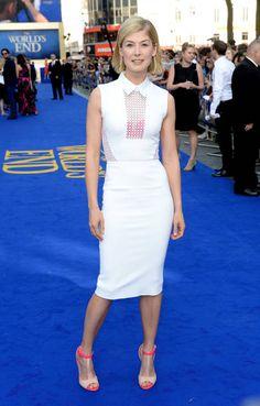 Rosamund Pike, Celebrity Look, Red Carpet Fashion, Elie Saab, Victoria Beckham, Fashion Photo, Designer Dresses, White Dress, High Neck Dress