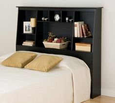 Black Full/Queen Tall Slant-Back Bookcase Headboard - Prepac big storage in any bedroom with the Full/Queen Tall Slant-Back Bookcase Headboard. Boasting a unique design that will complement your existing decor, this headboard offers maximum st Bookcase Styling, Bookcase Storage, Bed Storage, Storage Spaces, Storage Headboard, Storage Ideas, Furniture Storage, Bookcase Bed, Bedroom Storage