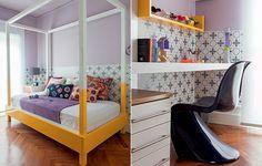A cama colorida com dossel é a grande atração do quarto de Victória, 13 anos. Para contrastar com o amarelo, a parede foi pintada de lilás – opção mais adulta ao rosa – e revestida com adesivo desenhado pela arquiteta Andrea Murão.