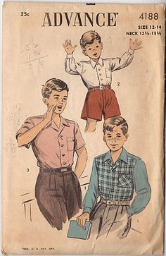Vintage Original Advance Boy's long or short sleeve sewing pattern. Pattern by: Advance # 4188 Pattern: Complete w/Instructions Date: ca. 1950's Original Price: 25c Size: 12-14 Neck: 12 1/2-13 1/2 Che