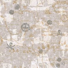 Pirate Map Wallpaper, Charcoal & Silver & Dove Gray & Soft Gold