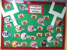 My September Child Life bulletin board at the hospital! Since it is the start of football season, patients decorated helmets with their favorite teams and wrote out their goals for this year.