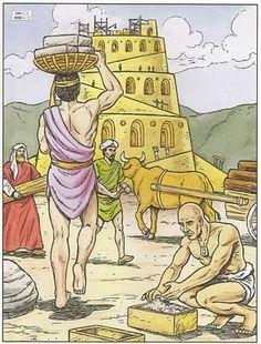 Mooie platen bij de toren van Babel /  Visual for Biblestory