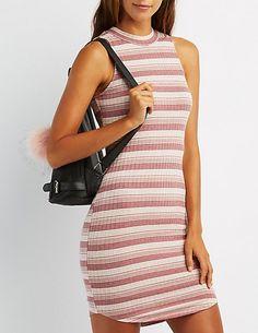 Ribbed Mock Neck Bodycon Dress #charlottelook