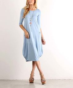 Love this Pranda Blue Gathered Midi Dress - Plus on #zulily! #zulilyfinds