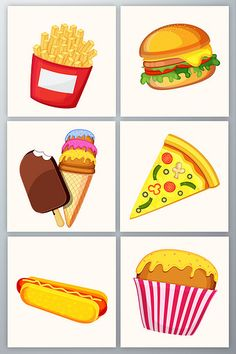 Hand-drawn gourmet fast food vector material#pikbest#graphic-elements Preschool Food, Free Preschool, Toddler Crafts, Toddler Activities, Baby Gift Wrapping, Thumbprint Cookies Recipe, Flashcards For Kids, Cute Food Art, Instagram Frame Template