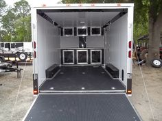 enclosed car hauler race ready with finished interior and cabinets, electrical cabinets, this one also had and awning. Cargo Trailer Camper, Trailer Ramps, Toy Hauler Trailers, Toy Hauler Camper, Best Trailers, Trailer Plans, Utility Trailer, Cargo Trailers, Horse Trailers