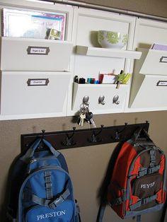 Letter bins for organizing school work