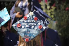 Replace high school with college. Replace high school with college. Funny Graduation Caps, Graduation Cap Designs, Graduation Cap Decoration, Graduation Diy, Grad Cap, High School Graduation, Graduate School, Graduation Outfits, Cap Decorations