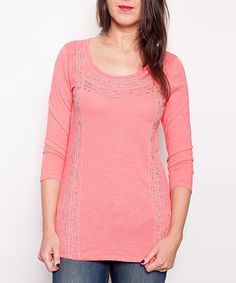 Look at this #zulilyfind! Pink Beaded Three-Quarter Sleeve Top by Overdrive #zulilyfinds