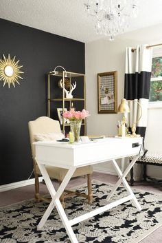 Black white and gold glam and feminine home office. Black white and gold glam and feminine home office. Home Office Space, Home Office Design, Home Office Furniture, Home Office Decor, Office Ideas, Office Spaces, Work Spaces, Office Style, Small Spaces