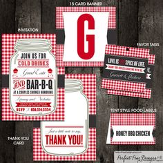 BBQ Pack, Invitation, Thank you card, Favor Tags, Banner, Food Labels - Couples Shower Barbecue, Business, Barbeque (DIY Digital Printable) on Etsy, $46.00