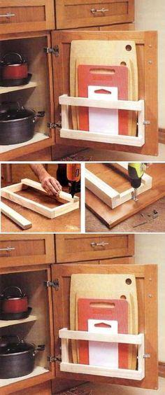 DIY Kitchen Board Rack