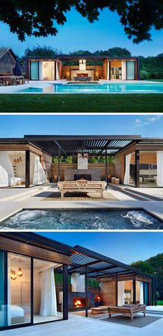 Landscaping Design Ideas - 11 Backyards Designed For Entertaining | The backyard of this home in the Hamptons features not only a luxurious pool and pool house for guests but also features an outdoor fireplace and a spacious dining area.