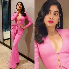 Janhvi Kapoor Rocks A Pink Button Down Pant Suit Like A Boss At Grazia Millennial Awards 2019 - HungryBoo Indian Heroine, Karan Johar, Lakme Fashion Week, Pink Pants, Bollywood Stars, Like A Boss, How To Look Pretty, Her Hair, Pink Dress