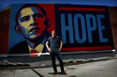 Fairey in front of Obama mural which became one of the most popular campaign posters. Literally everyone has seen this design, it will forever be iconic.