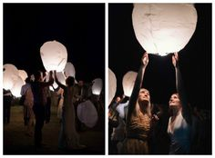 Wish Lanterns. Right Before you leave spend a special moment with your guests and fill the sky with lanterns! #nightwedding #summer #reception