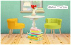 Ohbehave conversions set: dining chair, bookstacks, vase at Lina Cherie • Sims 4 Updates