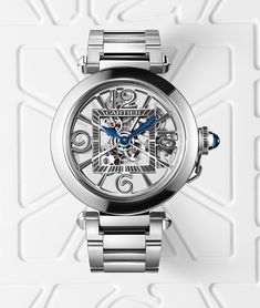 Cartier Pasha de Cartier seletonized model - the hour numerals are formed by the bridges in the skeletonized models. Cartier Watches Women, Watches For Men, Mens Watches Leather, Leather Men, Cartier Pasha Watch, 1980s Design, Top Luxury Brands, Mesh Band, Waterproof Watch