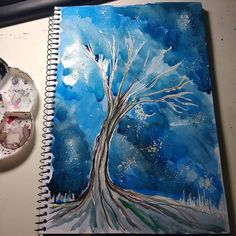 When I'm sad mad lost or when I just don't know what I have to draw I draw a tree. #sketchbook #sketch #tree #sky #watercolor