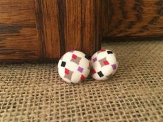 Diamond Fabric Button Earrings by GialloDesigns on Etsy