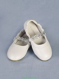 Flower Girl Dresses, Communion Dresses, Pageant Dresses - White Rhinestone Beaded Girl Shoes