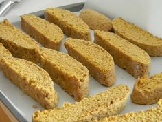 Pumpkin Biscotti ~ <3 this recipe as it used up the whole tin of pumpkin! Big recipe - 6 eggs, 7 1/2 cups whole wheat pastry flour, 1 1/2 cups honey etc3