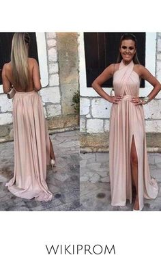 2019 Sexy Open Back Halter Evening Dresses A Line With Slit Chiffon, This dress could be custom made, there are no extra cost to do custom size and color Party Dresses Uk, Backless Prom Dresses, A Line Prom Dresses, Bridal Dresses, Bridesmaid Dresses, Sexy Evening Dress, Evening Dresses, Handmade Dresses, Chiffon