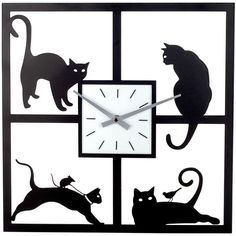 Cat Metal Wall Clock (Black) (2,080 MXN) ❤ liked on Polyvore featuring home, home decor, clocks, black, battery wall clock, black clock, black cat clock, black wall clock y metal wall clock
