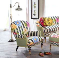 Cutting Garden Accent Chair is part of Mackenzie childs furniture We know spring has sprung when our vibrantly colored gardens begin to blossom Our Cutting Garden Accent Chair is inspired by our lo - Whimsical Painted Furniture, Painted Chairs, Funky Furniture, Furniture Makeover, Living Room Furniture, Furniture Design, Chair Design, Reupholster Furniture, Upholstered Furniture