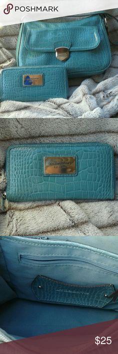 Liz Claiborne handbag and wallet 12x8x4 medium sized bag in teal color. In excellent used condition. Clean inside. Wallet also in excellent condition. Liz Claiborne Bags Shoulder Bags