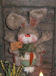 prim+easter | Primitive Bunny Rabbit Egg Easter Door Doll Pattern 302