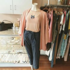 "Beautiful in pink: new Mink Pink ""chambray paperbag trousers"", Evil Twin nude pink mesh tee, vintage Haori silk kimono and Maj Dolva ceramic pendant necklace Evil Twin, Ceramic Pendant, Silk Kimono, Trousers, Pants, Mink, Chambray, Nude, Pendant Necklace"