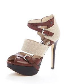 Michael Kors Fallyn Peep-Toe Sandal in Mocha/Natural Crazy Shoes, Me Too Shoes, Fab Shoes, Shoe Closet, Pumps, Heels, Contemporary Fashion, Shoe Collection, Shoe Game
