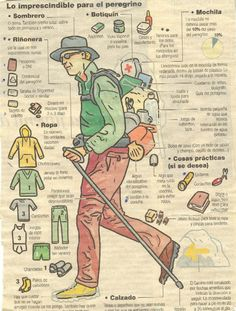 The essentials for a pilgrim. Items listed in Spanish, very useful!
