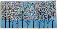Blue trees triptych painting