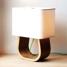 The Michigan Left Table Lamp  Walnut Bent Plywood - wood lamp