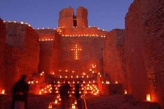 Christmas decorations New Mexico Style - Luminarias @  Jemez Pueblo Mission