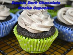 Double dark chocolate mocha cupcakes with mocha cream cheese icing! #LightIcedCoffee