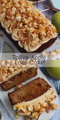 An Easy and Delicious Toffee Apple Loaf Cake with a Brown Sugar Apple Sponge, Toffee Buttercream Frosting, Toffee Popcorn and Toffee Sauce! Apple Loaf Cake, Apple Cake Recipes, Baking Recipes, Dessert Recipes, Caramel Apple Crumble, Apple Crumble Cake, Toffee Popcorn, Saltine Toffee, Popcorn Cake