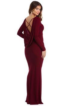 Olga Burgundy Draped Dress  | WindsorCloud